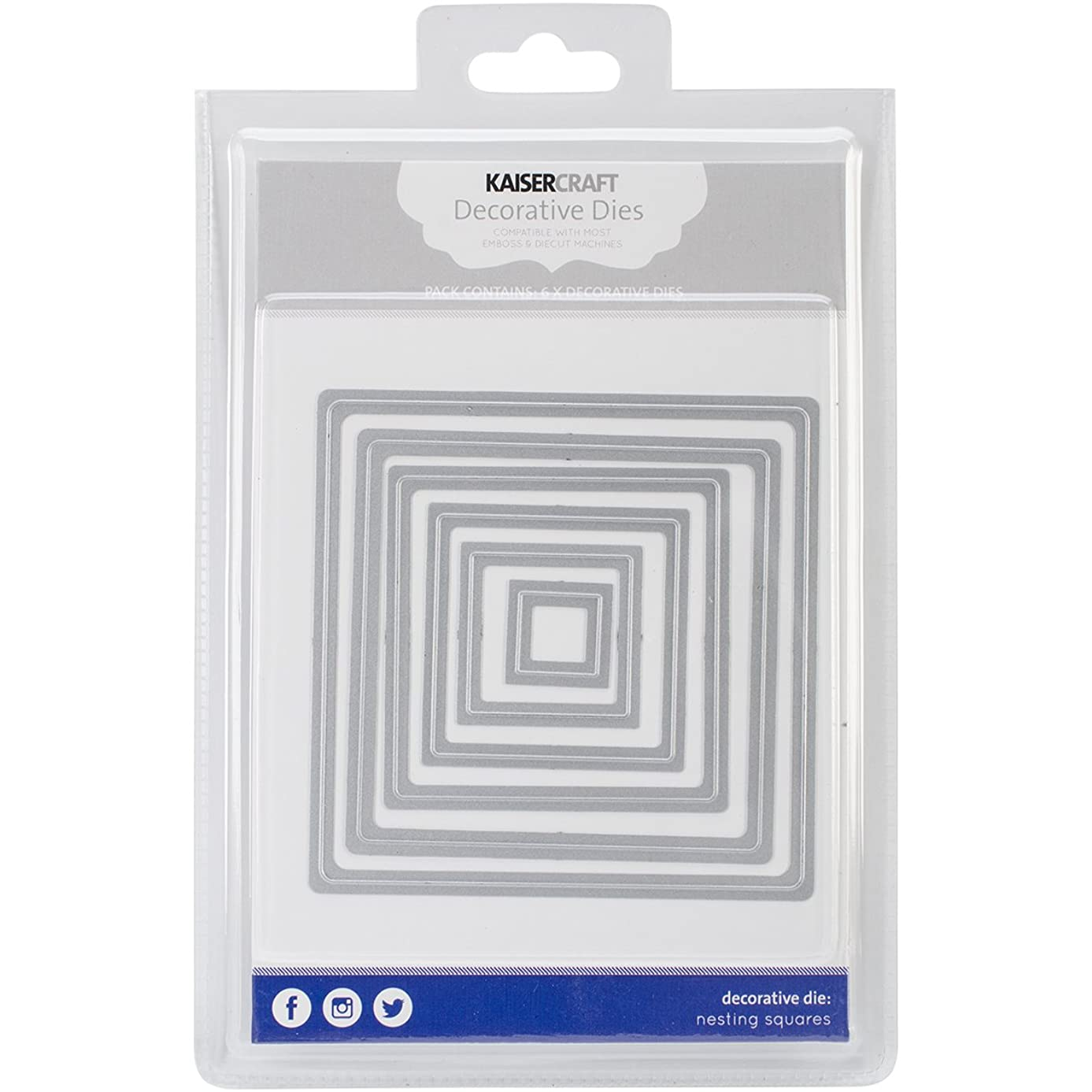 Kaisercraft DD512 Nesting Dies-Squares.75 by .75-Inch to 4.25 by 4.25-Inch