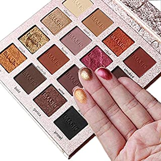 MAYCREATE® Matte Shimmer Eyeshadow Makeup Palette Pearlescent Matte Eyeshadow Palette Eye Cosmetics (Gold, t1) - Set of 16 Colours