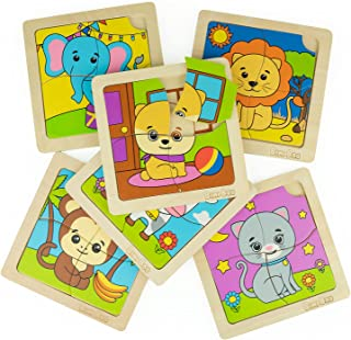 Bimi Boo Wooden Animal Puzzle Set of 6 Puzzles for Toddlers - Cute Dog, Cat, Cow, Monkey, Elephant & Lion