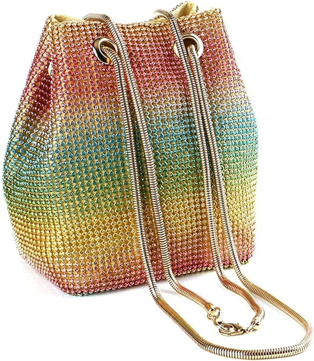 Women's Evening Handbags Rainbow Clutch Purses for Women Bucket Evening Bags Crystal Rhinestone Chain Shoulder Bags