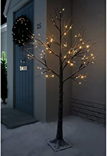 Jaymark Products 6ft (180cm) Floor Standing Christmas Indoor & Outdoor Snowy Effect Brown Tree in Warm White