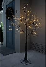 Jaymark Products 6ft (180cm) Floor Standing Christmas Indoor & Outdoor Snowy Effect Brown Tree in Warm White