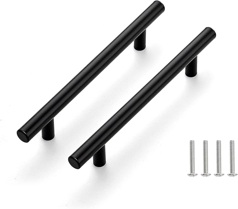 Drenky 10 piezas negro Aleaci/ón de acero inoxidable tirador puerta corredera Cocina Armario Caj/ón Manija Tire del gabinete Manija con tornillos 64 mm Centros de orificio