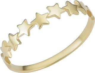 14k Yellow Gold Row of Star Minimalist Ring