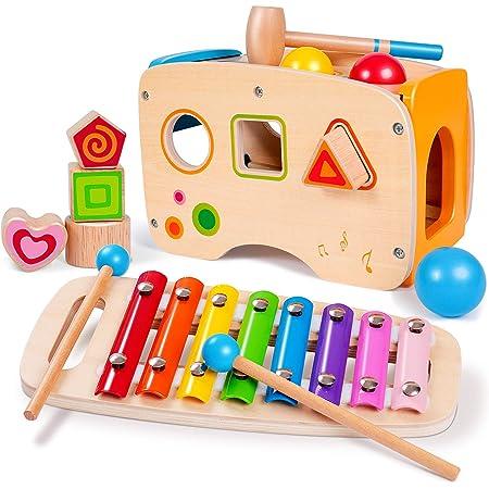 EEKKII Gioco xilofono e Martello con cubo di Legno, Giocattolo Musicale 3 in 1 Giocattolo da Trascinare per Bambini 1 2 3 Anni