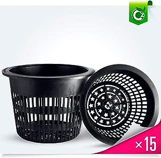 8 inch Net Pots Heavy Duty Round Cups Wide Rim Design - Orchids • Aquaponics • Aquaculture • Hydroponics Slotted Mesh (Cz All Star 15 Black)