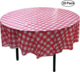 YUEKUI 10 Pack Round Plastic Checkered BBQ Tablecloth -Red & White Checkered Gingham Tablecloth -Plastic Picnic Table Covers (Round 84 inch)