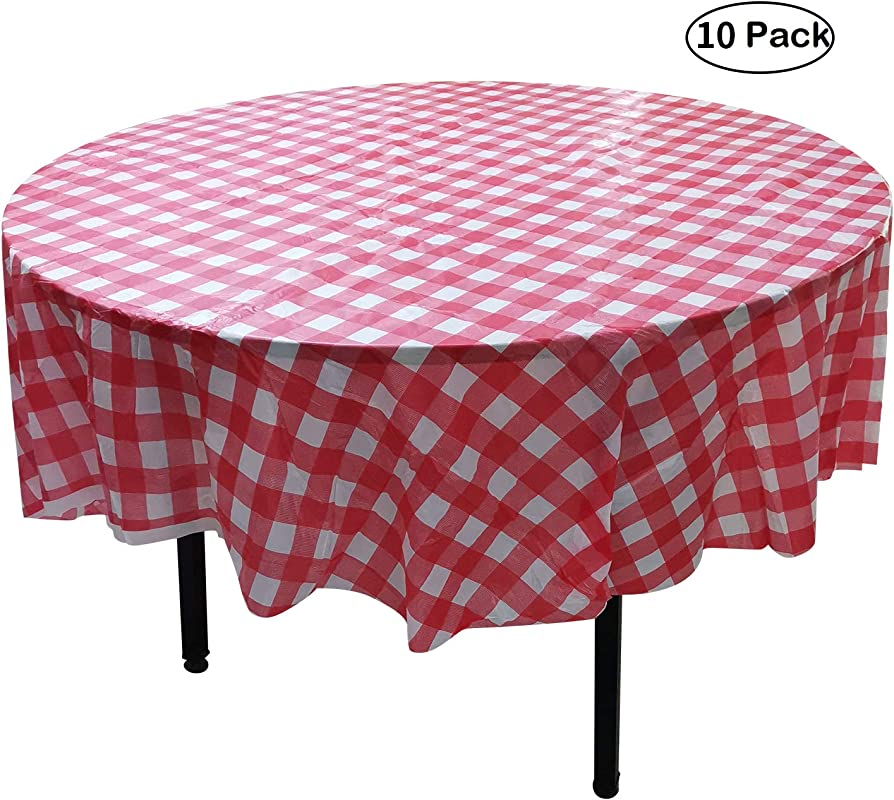 YUEKUI 10 Pack Round Plastic Checkered BBQ Tablecloth Red White Checkered Gingham Tablecloth Plastic Picnic Table Covers Round 84 Inch