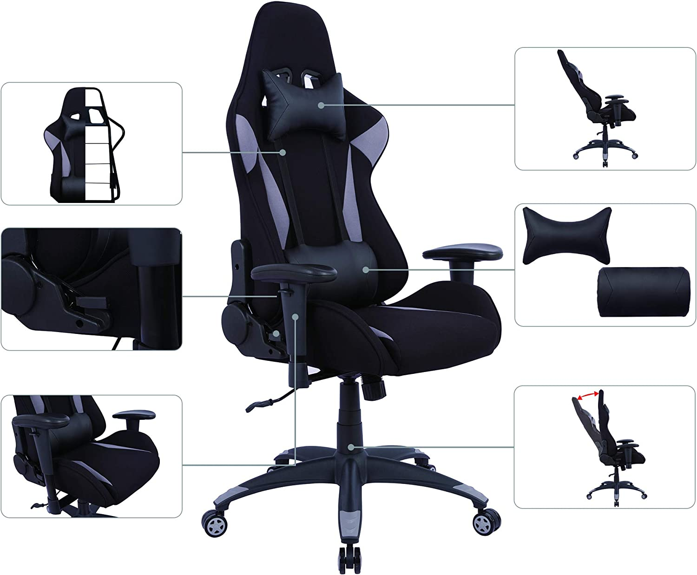 AmazonBasics - Gaming- Bürostuhl, Racing Design, Grau