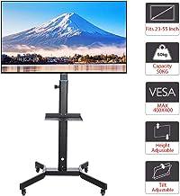 Youyijia Support TV roulettes Chariot Meuble TV pour Convient à La Taille De L'écran Jusqu'à 55 Po Plasma/LCD/LED Hauteur ...