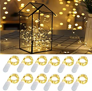 LED String Lights Battery string lights 20LED Warm White LED fairy String Lights on 4ft Copper Wire lights for DIY Decoration Costume Wedding Valentines holiday party lights(12PACKS-WARM WHITE)