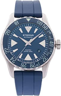 Eterna Men's KonTiki Diver 44mm Blue Silicone Band Steel Case Automatic Analog Watch 1290-41-89-1418