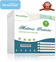 Safe and Sound Queen Size Waterproof Mattress Protector, Cool-EX Temperature Control Mattress Cover, Hypoallergenic, Premium Breathable Durable & Vinyl Free Bed Cover 10-Year Warranty
