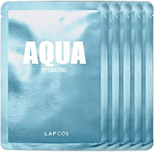 LAPCOS Aqua Sheet Mask, Daily Face Mask with Seawater and Plankton Extract to Nourish and Hydrate Skin, Korean Beauty Favorite, 5-Pack