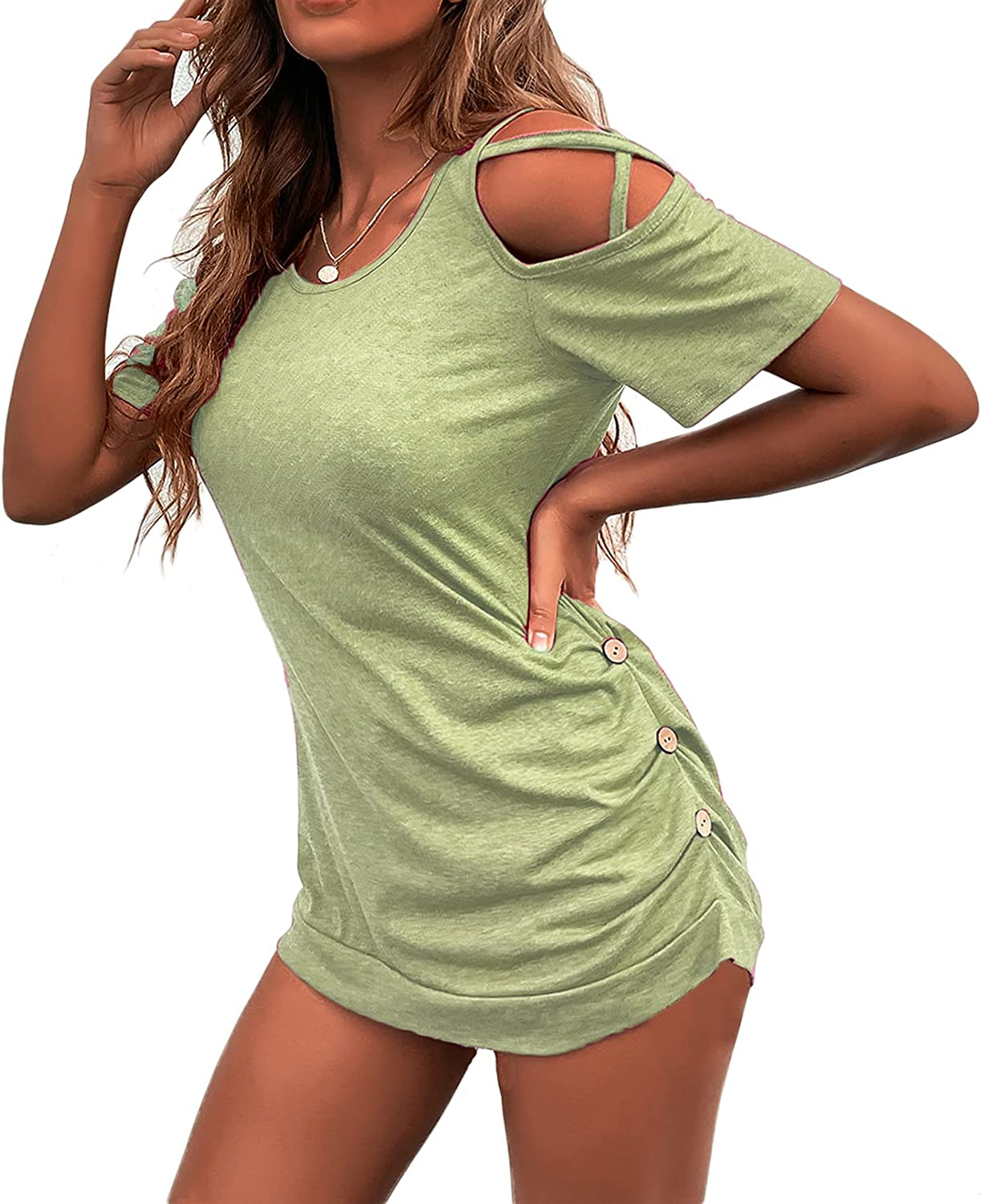 AUOMITH Women Summer Tops Short Sleeve T Shirt Tunics Tops Round Neck Strappy Cold Shoulder Casual Button Down Tops for Women