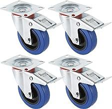 Miafamily Transportwielen, industriële zware wielen, zwenkwielen met rem, blauw, 4 x wielen met rem, 125 mm wielen voor me...
