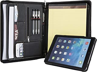 Professional Portfolio with Stand Tablet Holder for 10.5-inch iPad Pro/iPad Air 3, Full-Grain Cow Leather Padfolio Case Zippered Business Organizer Interview Meeting Document Holder