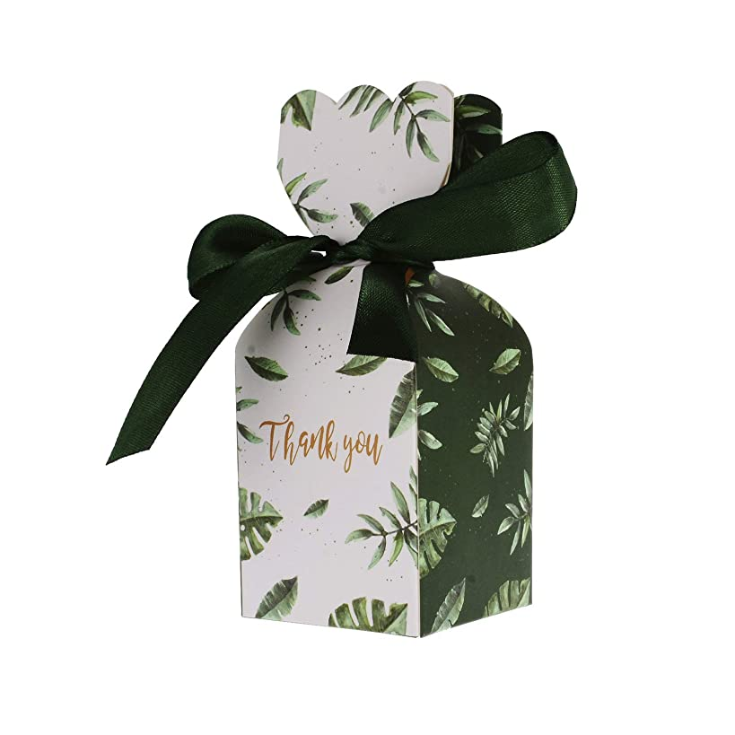 Kmall 50PCS 5*5*6 cm Green Leaf Vase Style Wedding Gift Candy Sugar Favor Box Kraft Paper Gift Super Cute Decoration High Quality Perfect for Your Bridesmaids and Party Guests Baby Shower Birthday