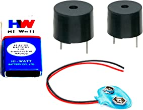 Generic CTE049 DIY 5V Buzzer With Hi-Wi 9V Battery & Connector, Combo Of 4, Multi-Color