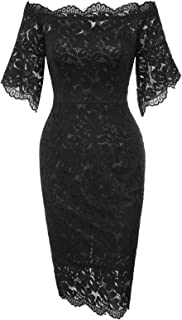 GRACE KARIN Women's Vintage Floral Lace Off Shoulder Short Sleeve Pencil Dress
