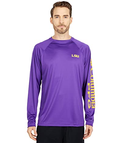 Columbia College LSU Tigers Terminal Tackletm Long Sleeve Shirt (Vivid Purple/Collegiate Yellow) Men