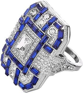 Discountsday Square Cubic Zirconia Bridal Set Princess Cut Jewelry Engagement Wedding Band Rings Set for Women Girls
