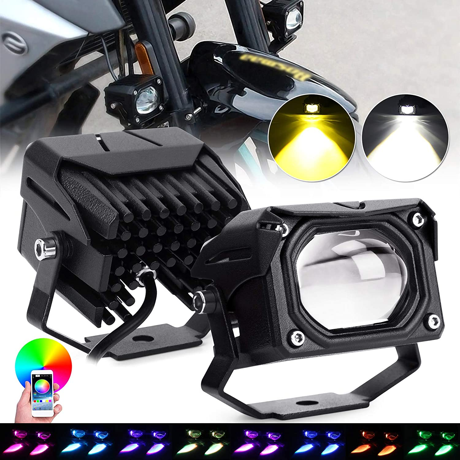 Motorcycle OFFicial store Driving Light RGB 3000K Amber Kansas City Mall Yellow Fog 6000