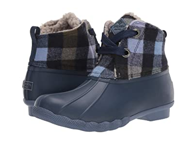 Sperry Saltwater 2-Eye Plaid Wool (Navy/Lilac) Women