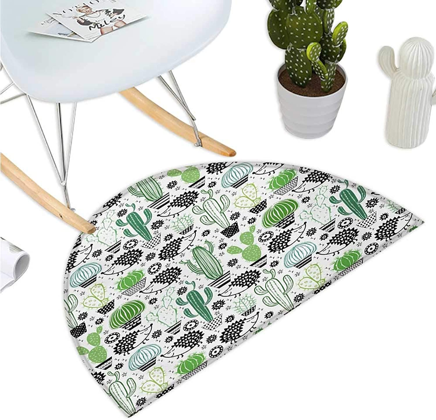Cactus Semicircular Cushion Cartoon Style Inspired Drawing of Cute Hedgehog Animals Saguaro and Prickly Pear Entry Door Mat H 35.4  xD 53.1  Multicolor