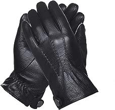 QGhappy hombre Winter Warm Touchscreen piel de cordero Conducción guantes de cuero (forro de cachemira) - Negro