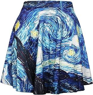 Women's Galaxy Printed Vintage Digital Pleated Flared Midi Skirt
