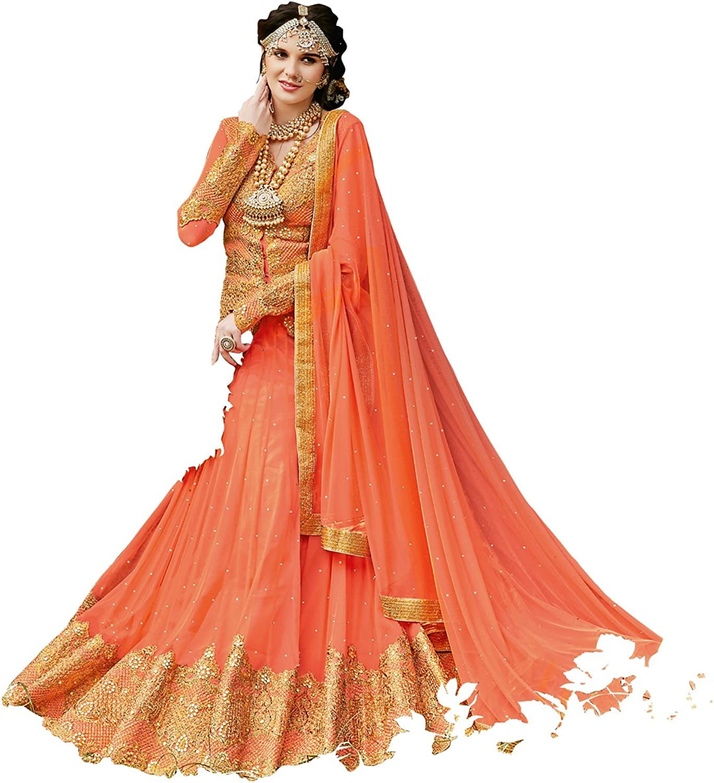 DesiButik's Wedding Wear Pleasant Light orange Soft Net Lehenga