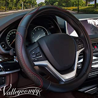 Valleycomfy Steering Wheel Covers Universal 15 inch - Genuine Leather, Breathable, Anti Slip & Odor Free (Black with Red Lines)