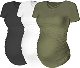 Rnxrbb Womens Short Sleeve Maternity Tops Pregnancy T-Shirt Criss Cross Cacual Ruched Side Mama Clothes 3 Pack
