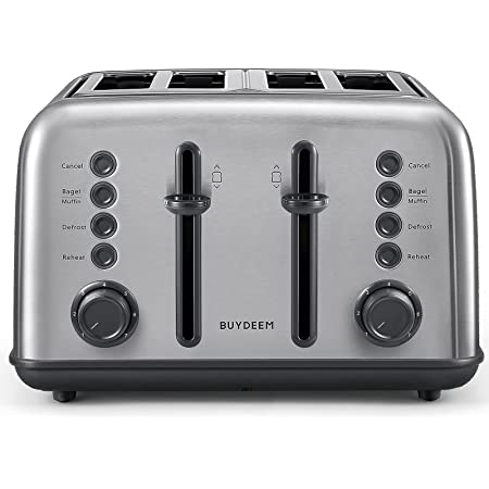 BUYDEEM DT-640 4-Slice Toaster, Extra Wide Slots, Retro Stainless Steel with High Lift Lever, Bagel and Muffin Function, Removal Crumb Tray, 7-Shade Settings (Stainless Steel)