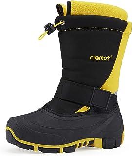 riemot Kids Snow Boots Boys Girls Winter Boots Waterproof Warm Shoes