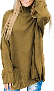Sidefeel Women Turtle Neck Sweater Full Sleeve Ribbed Pullover Knit Tops