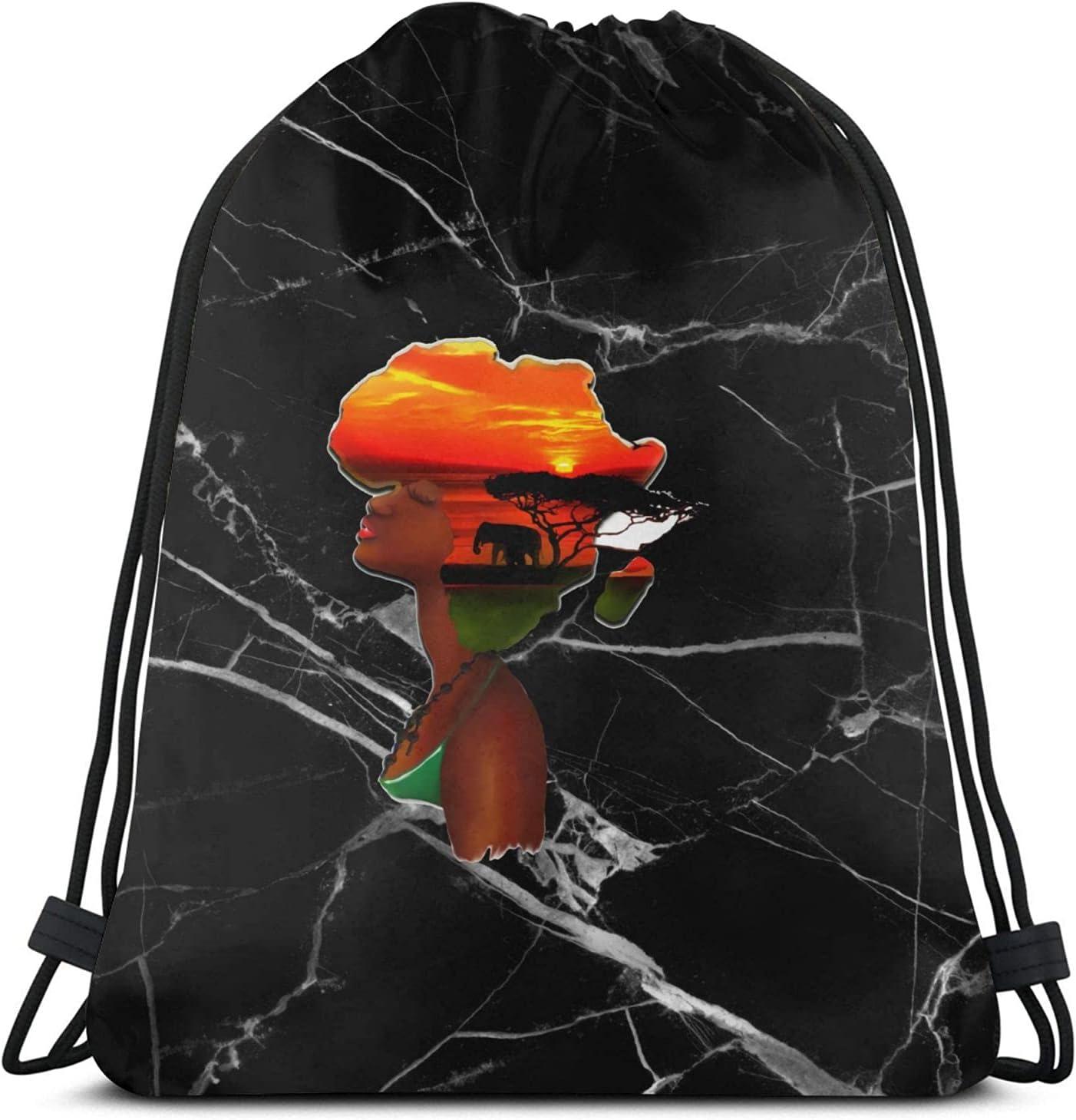 Max 80% OFF African Sunset Drawstring Backpack Sport Bargain sale Sackpack Workout Bag