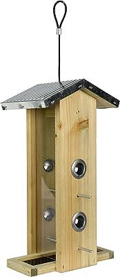 Wild Wings WWGF1 Galvanized Weathered Vertical Cedar Bird Hopper Feeder