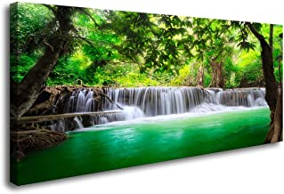Cao Gen Decor Art-S01450 1 Panels Wall Art Beautiful Waterfall Prints Green Forest Nature Stretched and Framed Canvas Paintings Stream Water Landscape for Home Decorations Wall Decor Artwork