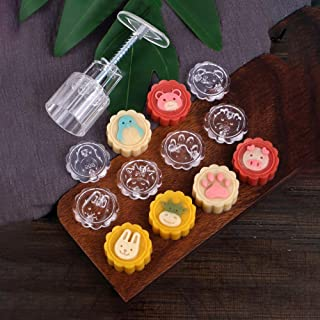 Mooncake Mold 50g, Hand Press Cookie Stamps Pastry Tool Moon Cake Maker with 6 Adorable Animal Patterns