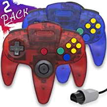 Wired Controller for Nintendo 64 N64 Console, Upgraded Joystick Classic Video Game Gamepad(Clear Red and Clear Blue,Pack of 2)