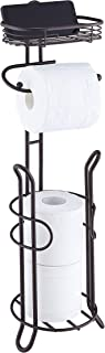 SunnyPoint Bathroom Heavyweight Toilet Tissue Paper Roll Storage Holder Stand with Reserve and Shelve, The Reserve Area Ha...