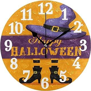 WIHVE Decorative Round Clock Happy Halloween Witch Feets Hat Arabic Numerals Wooden Wall Clock