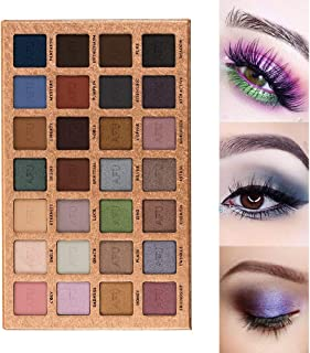 AFU High Pigmented Eyeshadow Palette Matte + Shimmer 28 Colors Makeup Natural Bronze Nudes Neutral Smokey Blendable Waterproof Eye Shadows Cosmetic - E-13