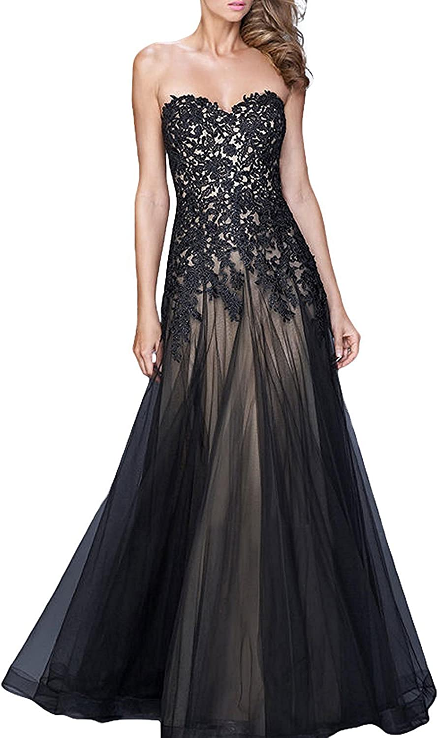 BEALEGAN Lady Women's Long A Line Tulle Lace Prom Formal Evening Party Gown