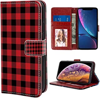 iPhone Xr Wallet Case, Plaid Lumberjack Fashion Buffalo Style Checks Pattern Retro Style with Grid Composition Orange Black PU Leather Folio Case with Card Holder and ID Coin Slot
