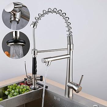 SUGU Mitigeur de cuisine en acier inoxydable avec douchette extensible et extensible /à 360/°