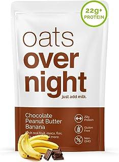 Oats Overnight - Chocolate Peanut Butter Banana (8 Pack) High Protein, Low Sugar Breakfast - Gluten Free, High Fiber, Non ...
