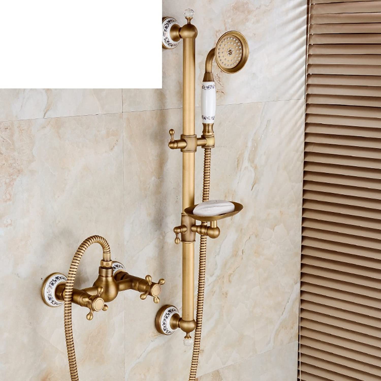 Antike einfache Dusche Vintage Badewanne Wasserhahn Kupfer Europische Keramik verstellbare Duschkopf-J